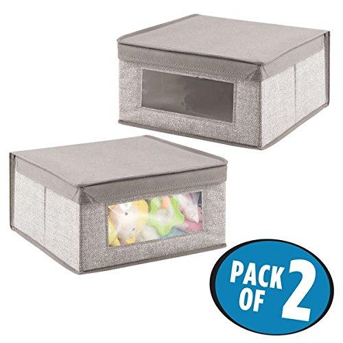 mDesign Juego de 2 cajas de tela para accesorios de bebé - Cajas organizadoras para habitación infantil - Ideales para ropa y complementos o como organizadores de juguetes - Gris MetroDecor 7929MDB