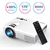 Projector, Upgraded Lumens TENKER Mini Projector With 170 Display LED Full HD Video Projector, Compatible With 1080P HDMI, Fire TV Stick, VGA, USB, AV for Home Theater Entertainment, Party and Games