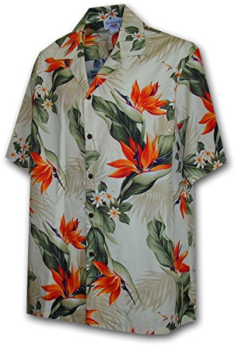Pacific Legend Tropical Shirts Bird of Paradise 3470-Cream L