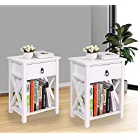 LAZYMOON Set of 2 MDF Nightstand Table X-Design End Table Side Table Storage Shelf w/ 1 Drawer, White Finish