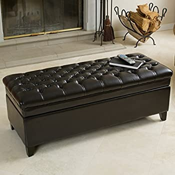 Barton Tufted Espresso Leather Storage Ottoman