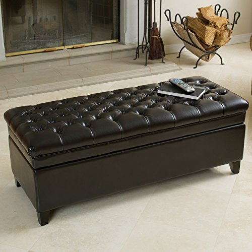 Barton Tufted Espresso Leather Storage Ottoman (Ottoman Tufted Leather Brown)