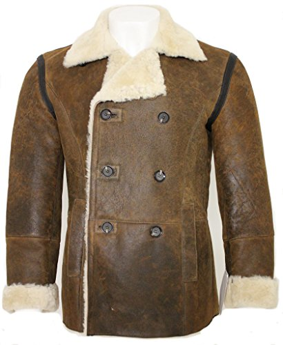 Men's Tan Rust Double Breasted Real Sheepskin Pea Coat L (Leather Peacoat Double Breasted)