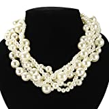 Utop Women's Multi-Strand Twisted Faux Pearl Chunky Necklace White 01 Deal (Small Image)