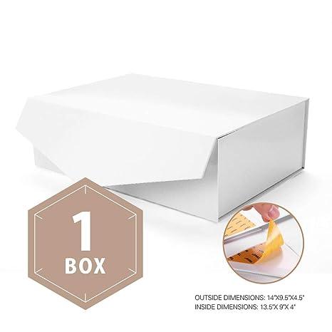 Caja de regalo con cierre magnético, caja de regalo plegable, caja de almacenamiento decorativa, cajas decorativas con cierre magnético (blanco, ...