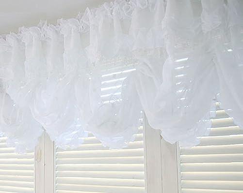 Balloon Shades Valance Curtain White Beads Window Treatment Kitchen Drape Lace