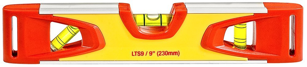 Starrett KLTS9-N Aluminum Torpedo Magnetic Level with 3 Plastic 360° Vials, 9 Length 9 Length