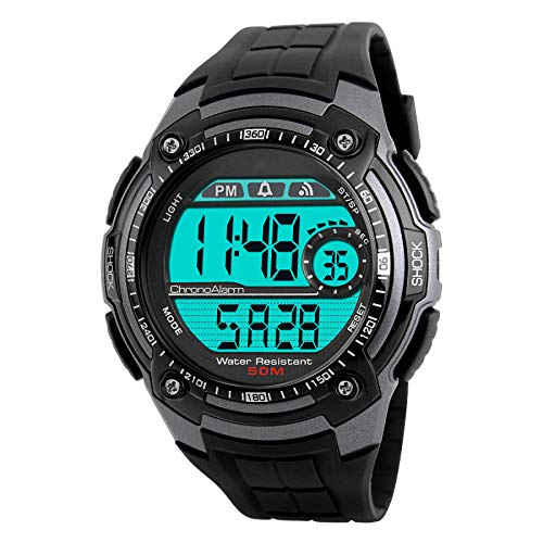 Titanium Multifunction Watch - TUJHGF Men's Multi-Function Watch Outdoor Sports Dual-time Analog Digital Watch,Titanium