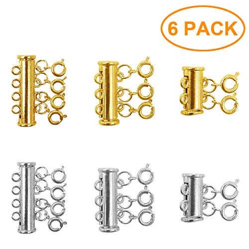 6 Pieces 3 Sizes Gold and Silver Plated Brass Bracelet Necklaces Slide Magnetic Tube Lock Jewelry Connectors with a Velvet Bag