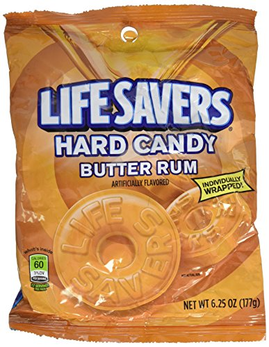 Lifesaver Rum - Life Savers, Butter Rum Hard Candy, 6.25oz Bag (Pack of 6)