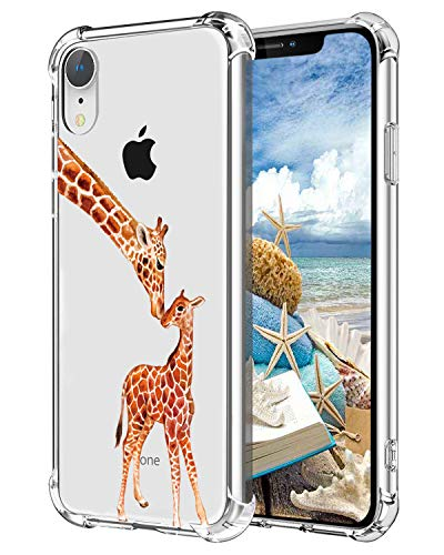 Hepix Giraffe iPhone XR Case Cute Animals Xr Clear Cases, Two Lovely Giraffes Xr Phone Case Protective Slim Flexible Soft TPU with Reinforced Bumpers, Anti-Scratch for iPhone XR (2018)
