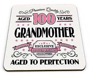 Premium calidad 100años abuela taza brillante posavasos–rosa