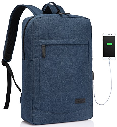 Business Laptop Backpack for 17 inch Computer With Built-in Charging Cable USB Port Lightweight School Rucksack with Waterproof Rain Cover