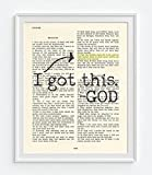 I got this - God - Psalm 55:22 -Cast your cares on the Lord - Christian UNFRAMED reproduction Art PRINT, Vintage Bible verse scripture wall & home decor poster, encouragement gift, 8x10 inches