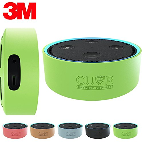 Price comparison product image Silicone Case for Amazon Echo Dot with 3M Wall Mount Pad [No Drills] by Cuvr (Green)