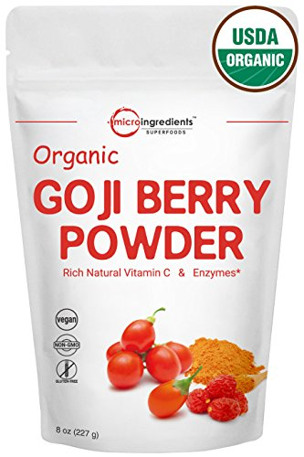 Highest Concentration Pure Organic Goji Berry Powder, Freeze-Dried, 8 Ounce, Natural Booster for Energy & Eye Health - Best Superfoods for Smoothie & Beverage Blend. Non-GMO and Vegan Friendly.