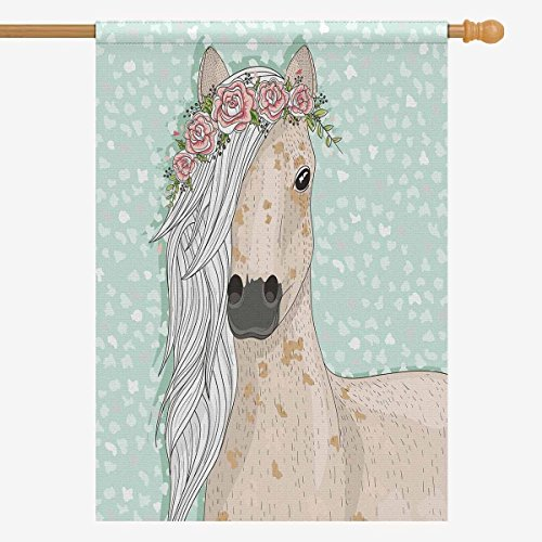 INTERESTPRINT Funny Horse with Flowers Fairytale House Flag Home House Banner Decorative Flags for Party Yard Home Outdoor Decor 28
