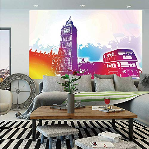 London Removable Wall Mural,Historical Big Ben and Bus Great Bell Clock Tower UK Europe Street Landmark,Self-Adhesive Large Wallpaper for Home Decor 66x96 inches,Purple Red Yellow