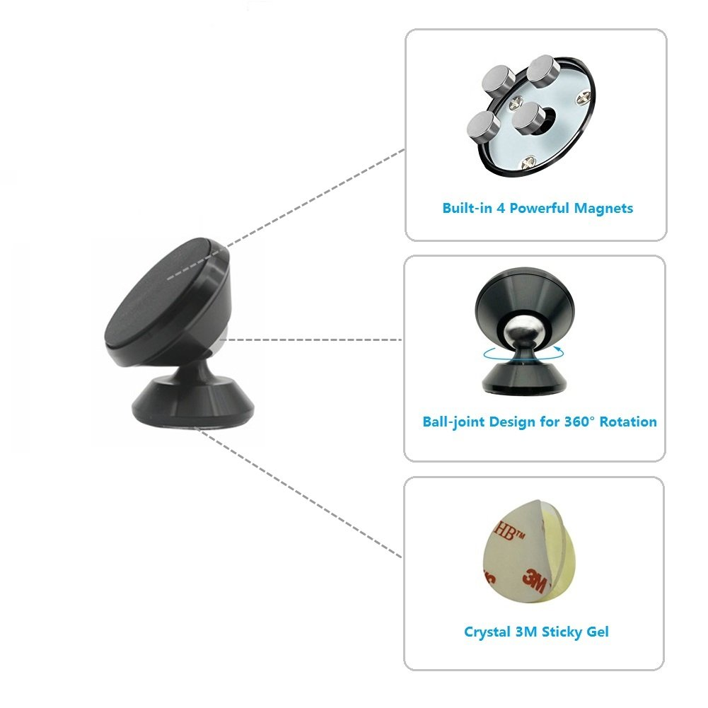 Magnetic Car Mount Holder Universal 360 Degree Ratation Car Phone Cradle Dashboard Mount Hands Free for GPS Device Light Tablets and iPhone X 8//8 Plus 7 7 Plus Samsung Galaxy S8 S8 Plus and More Molzar