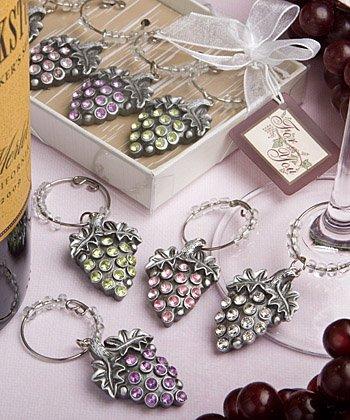 Glistening Grape Design Wine Charm Favor Sets