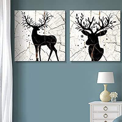 Black White Cracked Branch Antlers - 2 Panel Canvas Art