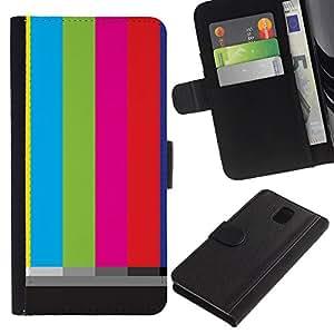 WINCASE Cuadro Funda Voltear Cuero Ranura Tarjetas TPU Carcasas Protectora Cover Case Para Samsung Galaxy Note 3 III - rayas pantalla tv viejos arte retro de la televisión