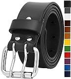 Falari Men's Full Grain Leather Belt Double Prong Belt (44 waist 42, 9024 Black, Stainless Steel Buckle)