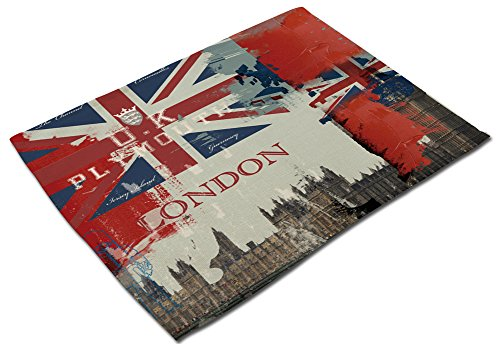 YJBear British The Union Flag Printed Cotton Linen Placemats for Kitchen Washable Table Mats Non-Slip Heat Insulation Dining Table Mats for Teacups Table Runner 16.5