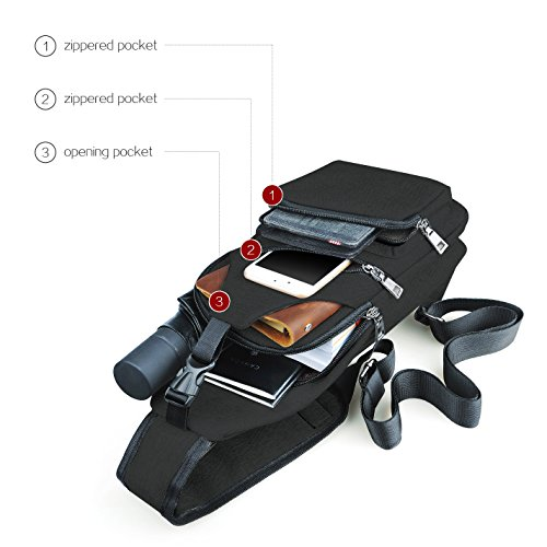 Sling Rucksack, Slingbag mit USB Öffnung für Ausflüge ins Büro Gebraucht polyester gray, by LC Prime Schwarz