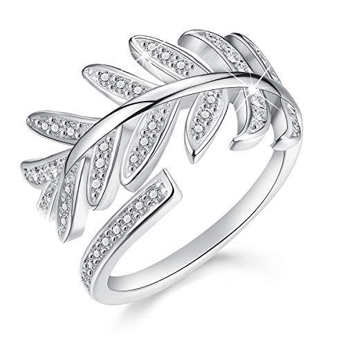 Madeone ✦18K White Gold/Rose Gold Plating Diamond Cut Cubic Zirconia CZ Stone Pine Leaf Ring Open Ring for Women with Box Packing (White Gold)
