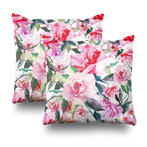 Suesoso Decorative Pillows Case 18 X 18 Inch Set of 2, Lovely Cute Floral Botanical Red Pink Roses Green Leaves Throw Pillowcover Cushion Decorative Home Decor Garden Sofa Bed Car