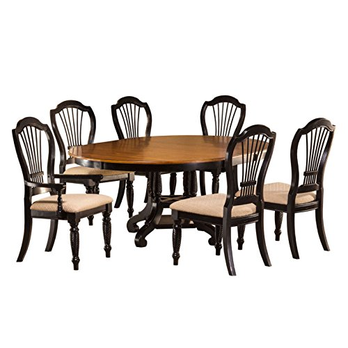 7-Piece Round Dining Set in Rubbed Black