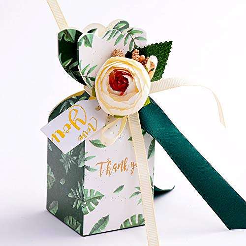 Moleya Pack of 20 pcs DIY Wedding Favors Candy Boxes with Ribbon and Flower for Engagement, Bridal Shower Party, Forest Green -