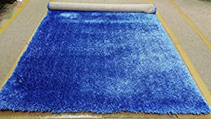 LA RUG LINENS Shimmer Shag Royal Blue Solid Modern Luster Ultra Thick Soft Plush Plain Area Rug 8 X 10 Contemporary Retro Polyester Textured Two Length 2