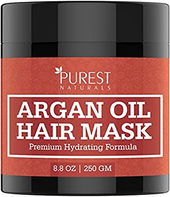 Purest Naturals Premium Hydrating Argan Oil Hair Mask - Best Deep Conditioner Repair Treatment for Damaged & Dry Hair After Shampoo - With Vitamin C, E, Keratin & Shea Butter - For All Hair Types