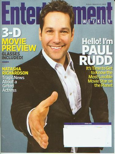 Entertainment Weekly March 27 2009 Paul Rudd (3D Movie Review Glasses Included, - Rudd Glasses Paul