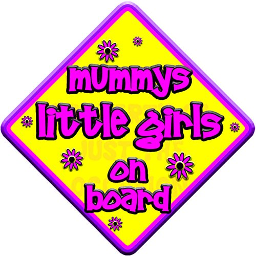 FLORAL mummys little girls on board  novelty baby on board car window sign