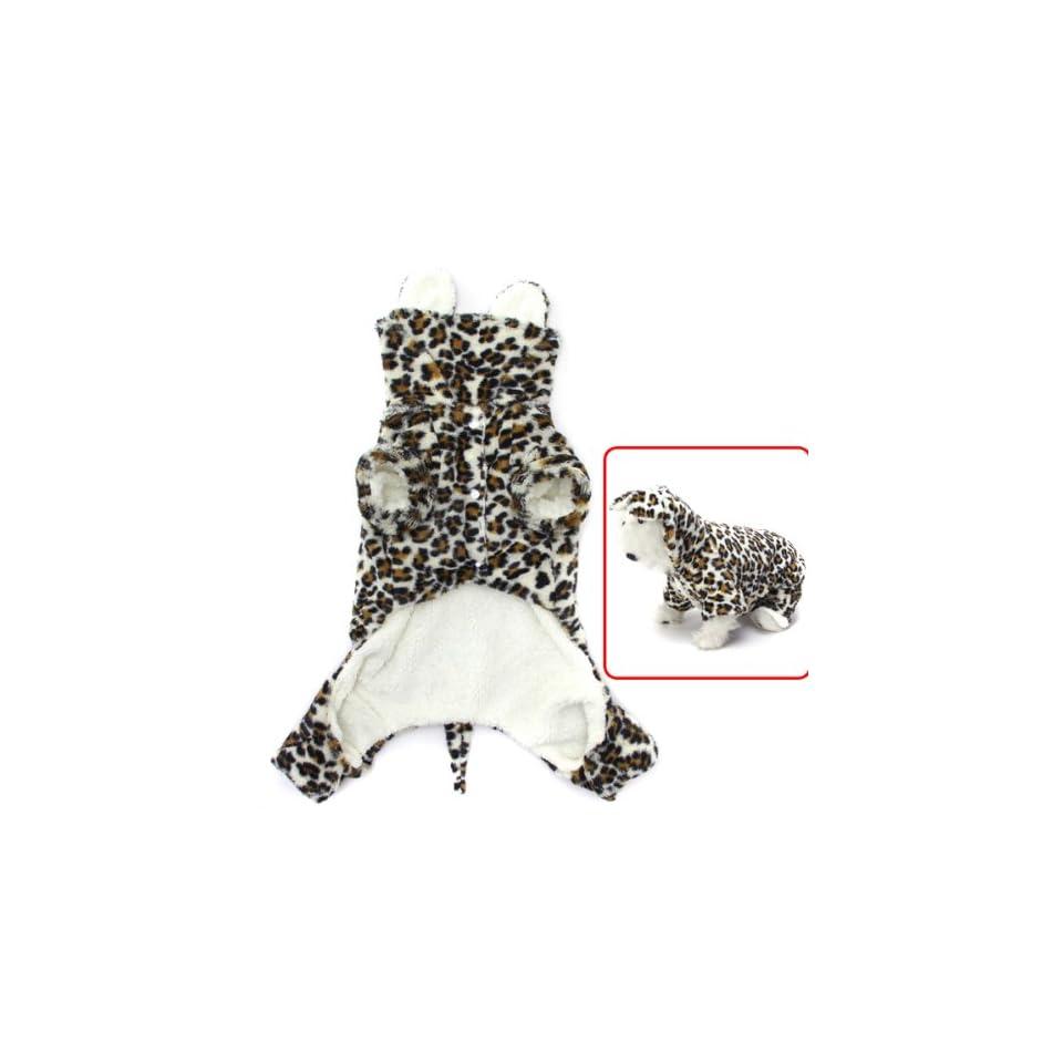 Pet Dog Puppy Leopard Hoodie Hooded Coat Jumpsuit Costume (S)