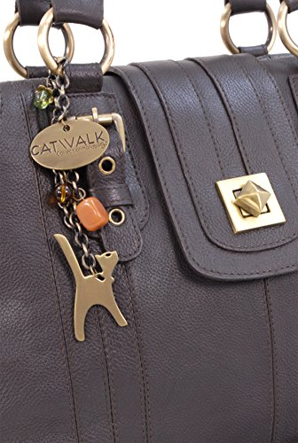 CATWALK COLLECTION - KATE - Bolso de hombro con cierre giratorio - Cuero Marrón
