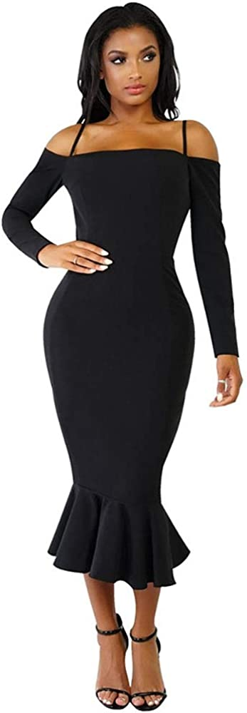 LYB Women's Off Shoulder Spaghetti Strap Long Sleeve Bodycon Dress with Ruffles Bottom 2583