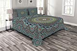 Eastern King Size Bedspreads Lunarable Geometric Coverlet Set King Size, Traditional Middle Eastern Style Moroccan Arabesque Culture Artful Design, Decorative Quilted 3 Piece Bedspread Set with 2 Pillow Shams, Slate Blue Ruby