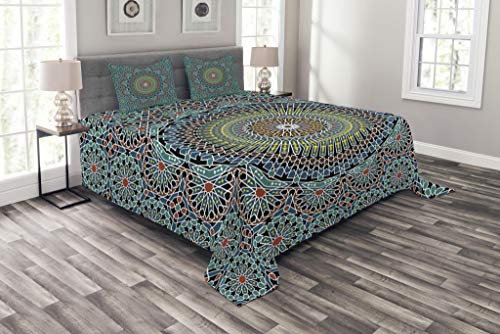- Lunarable Geometric Coverlet Set Queen Size, Traditional Middle Eastern Style Moroccan Arabesque Culture Artful Design, Decorative Quilted 3 Piece Bedspread Set with 2 Pillow Shams, Slate Blue Ruby