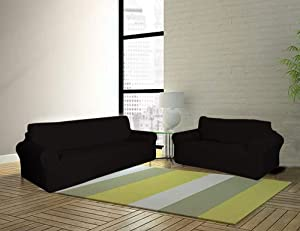 Sapphire Home 2-Piece SlipCover Set for Sofa Loveseat Couch, Form fit Stretch, Wrinkle Free, Furniture Protector Cover Set for 3/2 Cushions, Polyester Spandex, 2pc Slipcover Set, Black