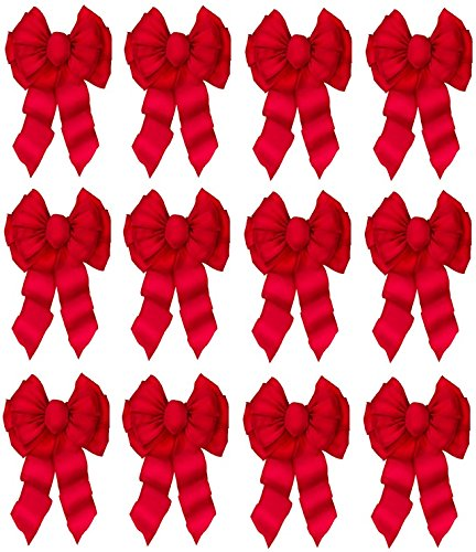 Holiday Trim # 7372 11 Loop, Deluxe, Red Velvet Wired Christmas Bow- Quantity 12 by Holiday Trim