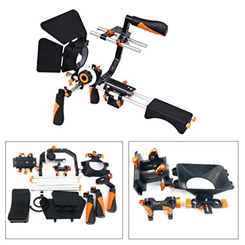 YaeCCC Video Camera Shoulder Rig Support with Matte Box Follow Focus for All DSLR Cameras and Camcorders-Color Orange by YaeCCC