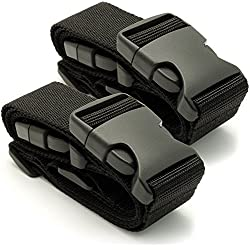 CampTeck U6745 Small Travel Luggage Straps Short Adjustable Connect Suitcase Belt Add On Attachment – Black 1 Pair