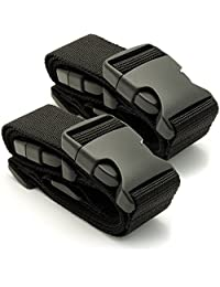 CampTeck U6745 Small Travel Luggage Straps Short Adjustable Connect Suitcase Belt Add On Attachment – Black, 1 Pair
