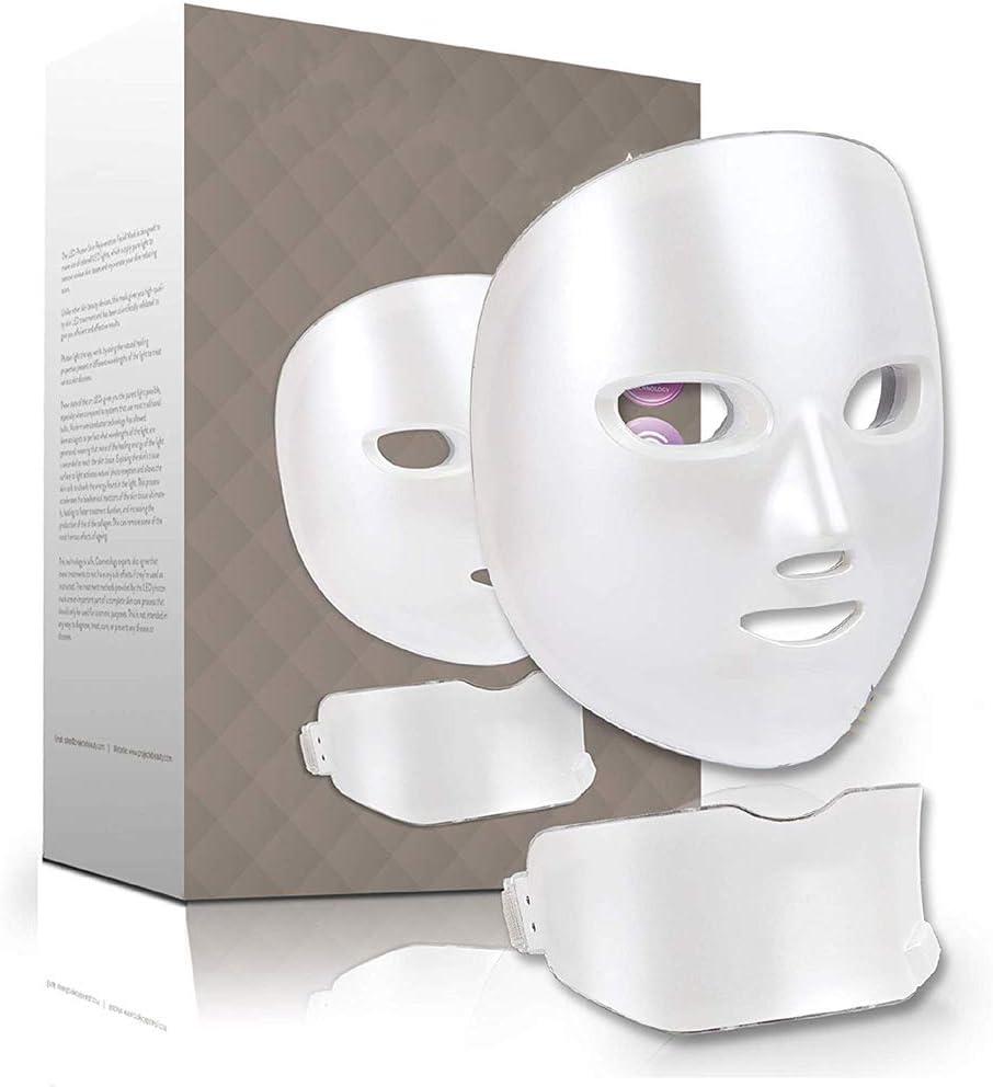ビューティー7色LEDマスクフェイス&ネックフォトンライト肌の若返りセラピーフェイシャル・スキンケアワイヤレスマスク、ホーム&サロン美容マスク