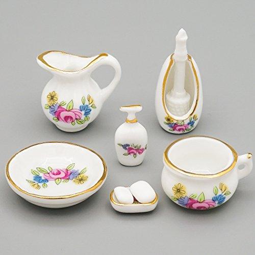 (Odoria 1:12 Miniature Bathroom Kit 7PCS Soap Dispenser Shampoo Set Porcelain Dollhouse Accessories)