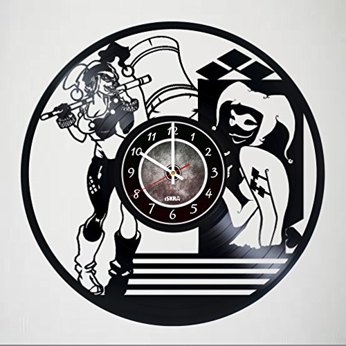 Harley Quinn Supervillain Vinyl Record Wall Clock - Get unique living room wall decor - Poster - Ornaments - Party Supplies - Gift for boys and girls, friends, teens – - Quinn Shop Harley